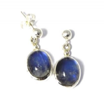 Large Oval Rainbow Moonstone Earrings Silver drops